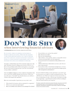 don't be shy when interviewing financial advisors